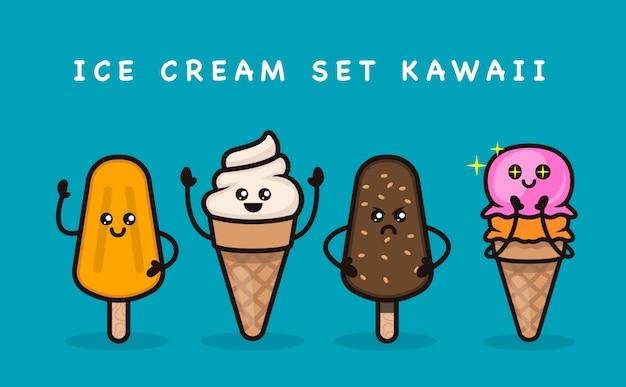 Ensemble d'illustration de conception de mascotte de crème glacée mignon