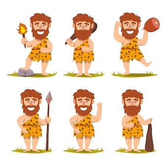 Ensemble d & # 39; illustration de conception mascotte néandertalien préhistorique homme des cavernes