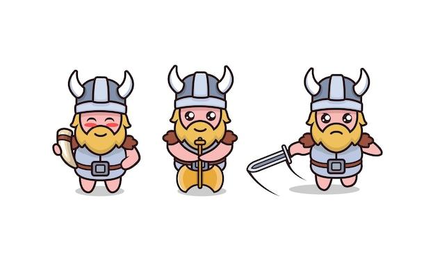 Ensemble d'illustration de conception de mascotte viking barbare mignon avec fond blanc