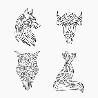 Ensemble d'illustration de conception de tatouage d'art de ligne animale