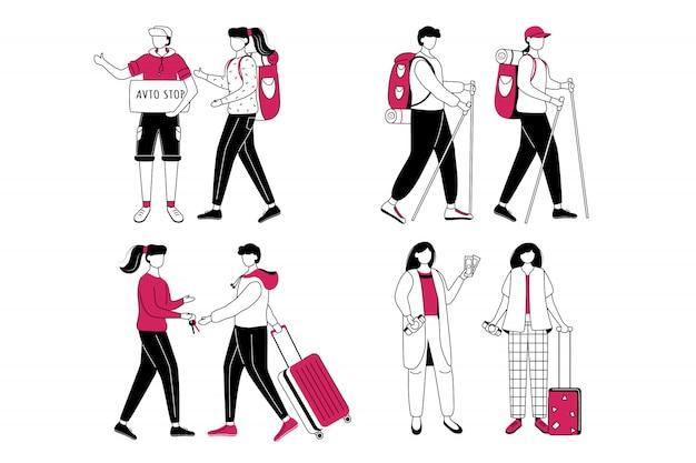 Ensemble d'illustration de contour plat budget tourisme. idées de voyage bon marché isolé personnage de contour de dessin animé sur fond blanc. couchsurfing et auto-stop. se préparer pour le voyage dessin simple