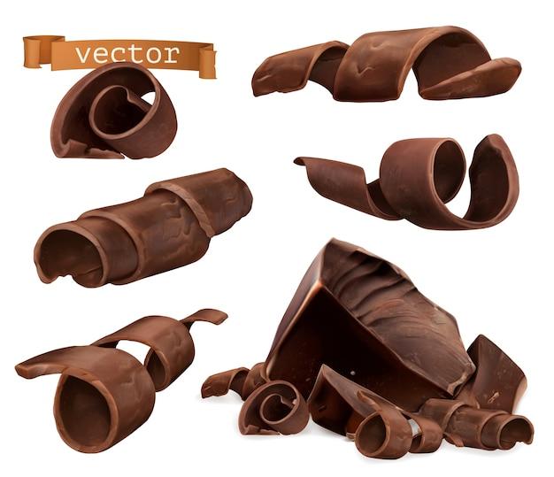 Ensemble d'illustration de copeaux et de morceaux de chocolat