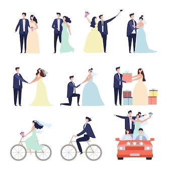 Ensemble d'illustration de couple de jeunes mariés