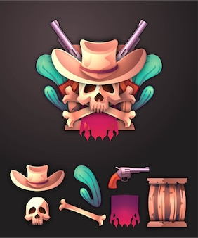 Ensemble d'illustration de cowboy d'insigne 3d