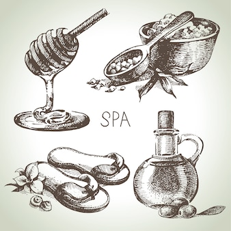 Ensemble d'illustration de croquis de spa. illustrations dessinées à la main vintage beauté