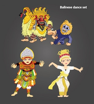 Ensemble d'illustration de danse balinaise
