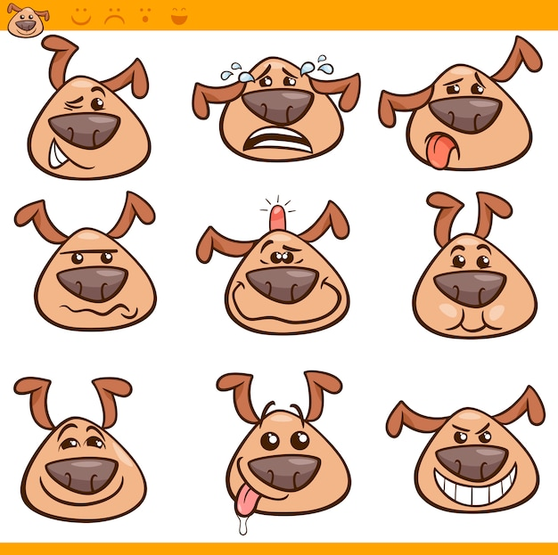 Ensemble d'illustration de dessin animé de chien