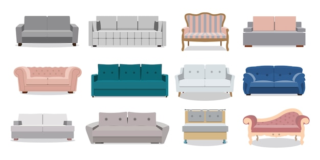 Ensemble d'illustration de dessin animé coloré de canapé et canapés. collection de salon confortable pour la décoration intérieure isolé sur fond blanc.
