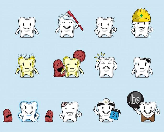 Ensemble d'illustration de dessin animé de dent