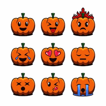 Ensemble d & # 39; illustration de dessin animé émoticône halloween