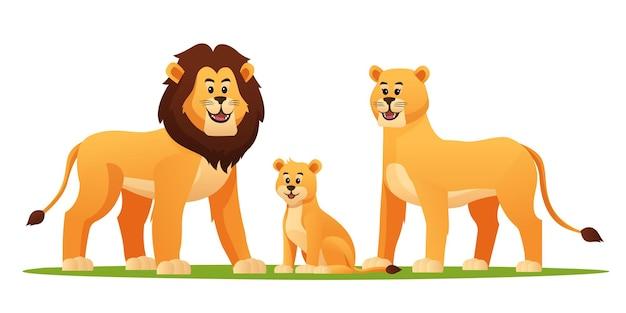 Ensemble d'illustration de dessin animé de famille lion
