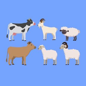 Ensemble d'illustration de dessin animé mignon d'élevage d'animaux