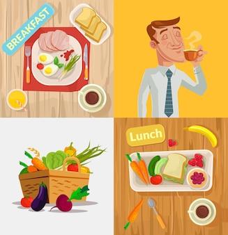 Ensemble d'illustration de dessin animé de vecteur alimentaire