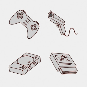 Ensemble d'illustration de dessin à la main de console de jeu