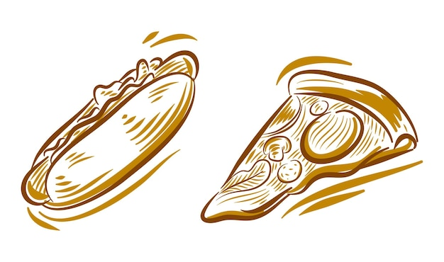 Ensemble d'illustration de dessin à la main de crème glacée pour l'élément de fond de logo de marque