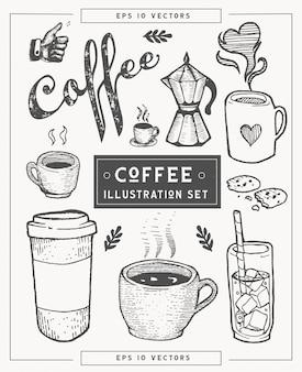 Ensemble d'illustration dessiné à la main de café.