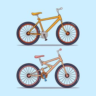 Ensemble d'illustration de deux vélos