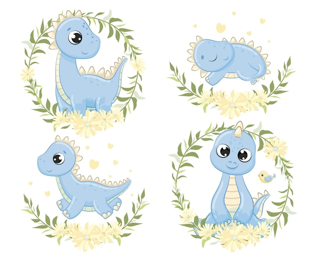 Ensemble d'illustration de dinosaures bébé mignon. illustration vectorielle pour baby shower, carte de voeux, invitation à une fête, impression de t-shirt de vêtements de mode.