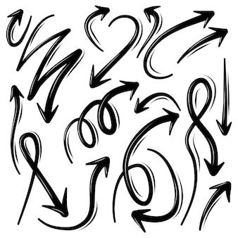 Ensemble d'illustration de doodle de flèche
