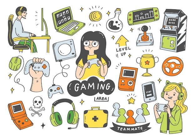 Ensemble d'illustration de doodle de jeu vidéo
