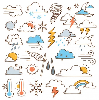 Ensemble d'illustration doodles météo