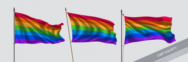 Ensemble d'illustration de drapeaux agitant lgbt