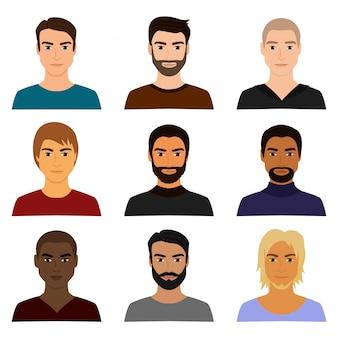 Ensemble d'illustration du personnage masculin fait face à des avatars dans différents vêtements et styles de cheveux. avatar de gars homme dans un style plat de dessin animé.