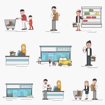 Ensemble d'illustration du vecteur de supermarché