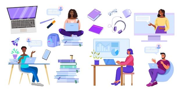 Ensemble d'illustration de l'éducation en ligne