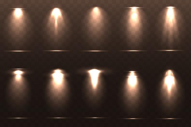Ensemble d'illustration d'effets d'éclairage