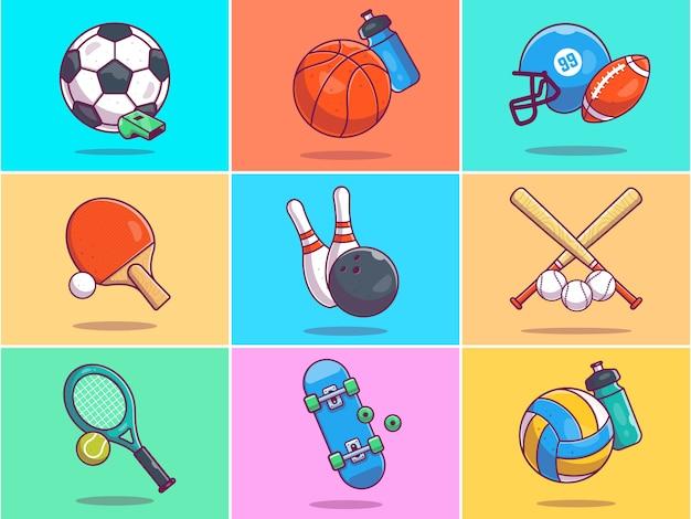Un ensemble d'illustration d'éléments de sport.