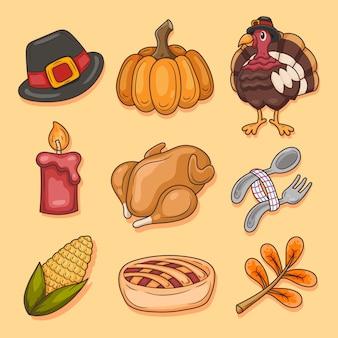 Ensemble d'illustration d'éléments de thanksgiving dessinés à la main