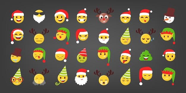 Ensemble d'illustration d'emoji drôle de noël. visage festif avec chapeaux et élément de noël. émoticône isolée pour le chat en ligne