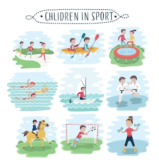 Ensemble d & # 39; illustration d & # 39; enfants pratiquant divers sports sur blanc