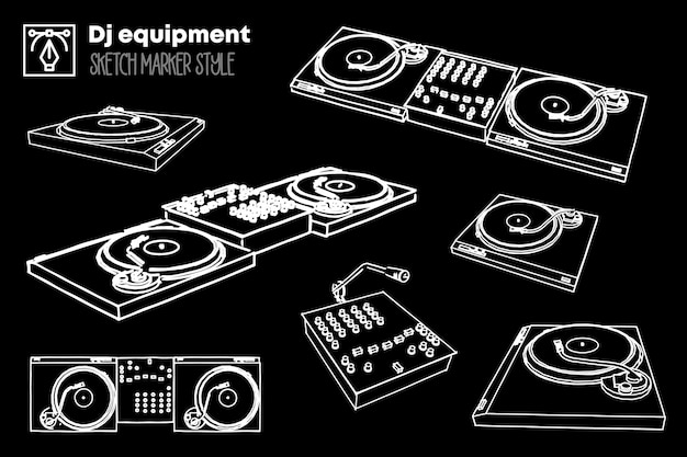 Ensemble d'illustration d'équipement dj