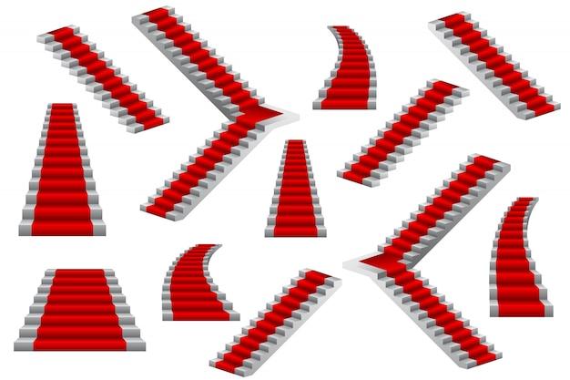Ensemble d'illustration d'escaliers isolé sur blanc