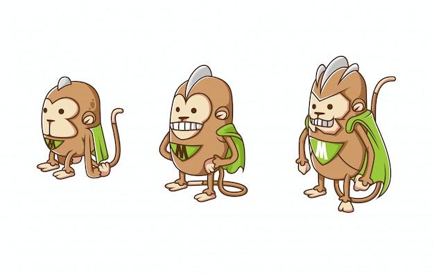 Ensemble d'illustration de l'évolution des personnages de singe isométrique