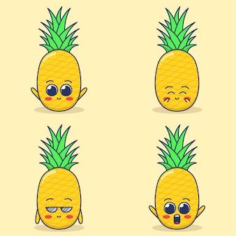 Ensemble d'illustration d'expression d'ananas mignon