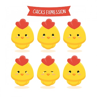 Ensemble d'illustration d'expression de poussins