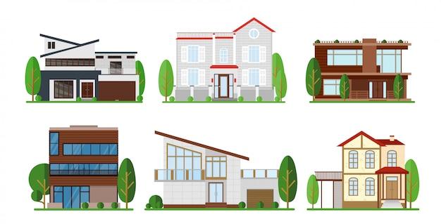 Ensemble d'illustration de l'extérieur de la maison. appartement moderne, chalet, concept de construction de chalet à.