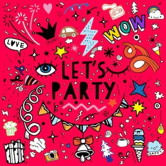 Ensemble d'illustration de fête, ligne de croquis de doodle dessiné à la main