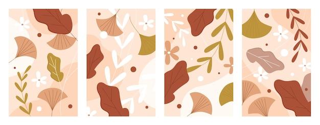 Ensemble d'illustration de feuilles d'automne. chêne tombant brun abstrait, feuille d'arbre d'automne d'acacia, points de graines de fleurs collection de saison d'automne