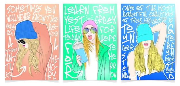 Ensemble d'illustration fille moderne