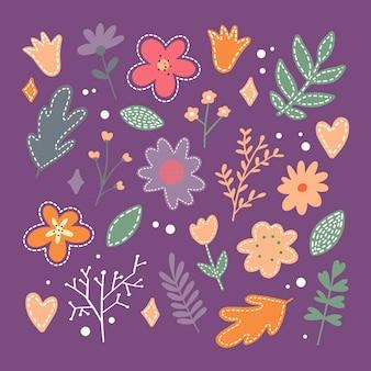 Ensemble d & # 39; illustration de fleur de printemps plat