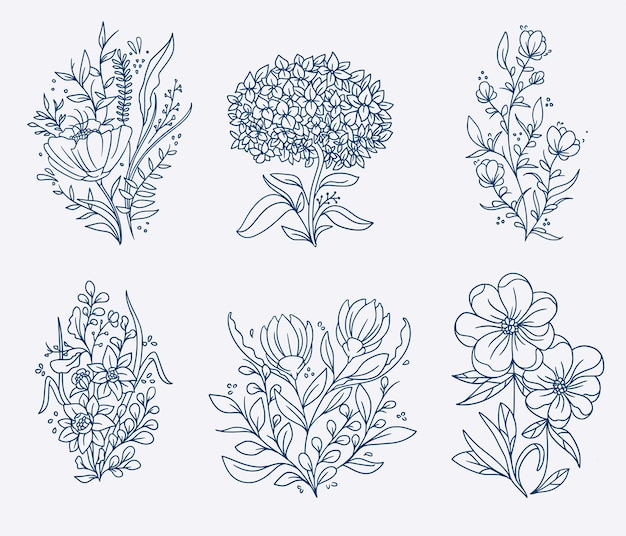 Ensemble d'illustration de fleurs dessinées à la main vintage
