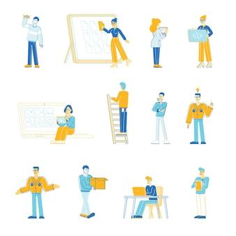 Ensemble d & # 39; illustration de gestionnaires de personnes de bureau