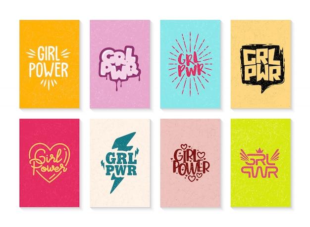Ensemble d'illustration girl power dessiné à la main