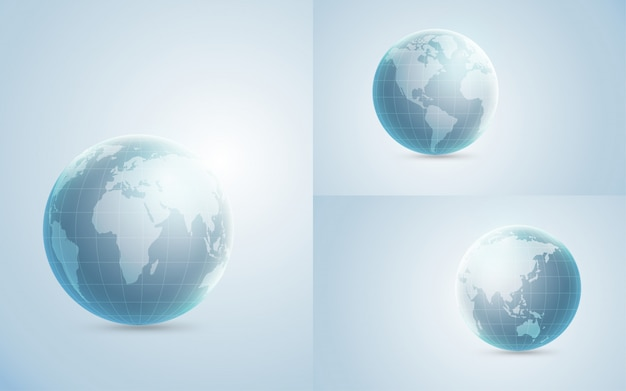 Ensemble d'illustration globe 3d
