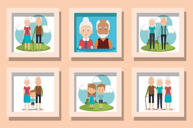 Ensemble d'illustration de grands-parents avec petits-enfants