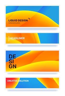 Ensemble d'illustration horizontale abstraite bleue et jaune créative dans la conception de modèle de cadre